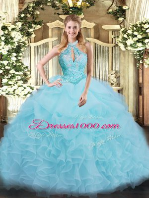 Beading and Ruffles Quince Ball Gowns Aqua Blue Lace Up Sleeveless Floor Length