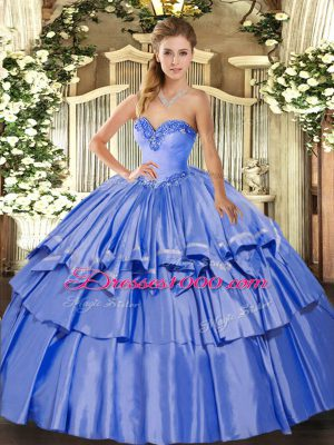 Trendy Sweetheart Sleeveless Organza and Taffeta 15th Birthday Dress Beading and Ruffled Layers Lace Up
