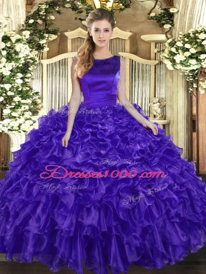 Floor Length Ball Gowns Sleeveless Purple Sweet 16 Quinceanera Dress Lace Up