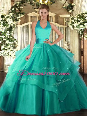 Super Tulle Halter Top Sleeveless Lace Up Ruffled Layers 15th Birthday Dress in Turquoise