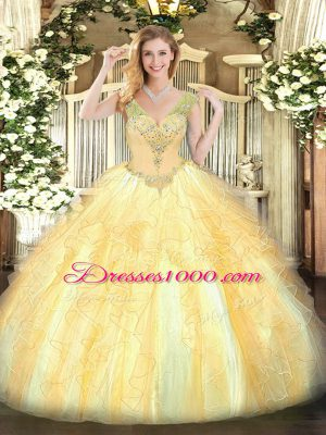 Gold Quinceanera Dress Military Ball and Sweet 16 and Quinceanera with Beading and Ruffles V-neck Sleeveless Lace Up