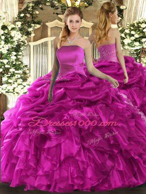 Fuchsia Lace Up Sweet 16 Quinceanera Dress Ruffles and Pick Ups Sleeveless Floor Length
