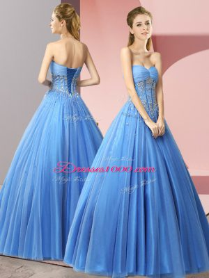 Eye-catching Baby Blue Sleeveless Tulle Lace Up Prom Evening Gown for Prom and Party
