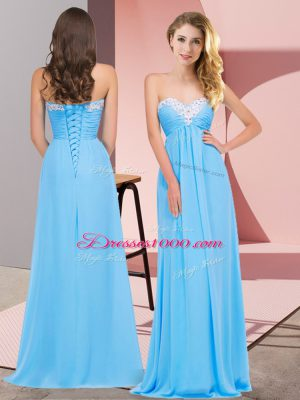 Superior Sweetheart Sleeveless Chiffon Homecoming Dress Ruching Lace Up