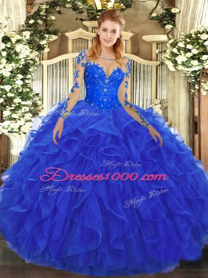 Enchanting Royal Blue Ball Gowns Scoop Long Sleeves Tulle Floor Length Lace Up Lace and Ruffles Quince Ball Gowns