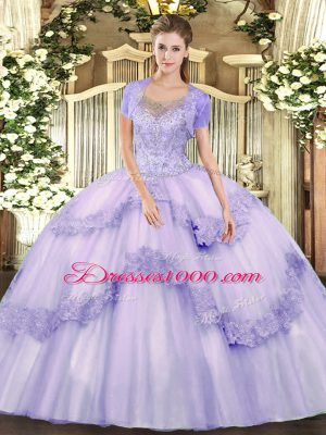 Floor Length Clasp Handle Quince Ball Gowns Lavender for Military Ball and Sweet 16 and Quinceanera with Beading and Appliques