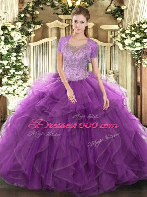 Luxury Sleeveless Beading and Ruffled Layers Clasp Handle Ball Gown Prom Dress