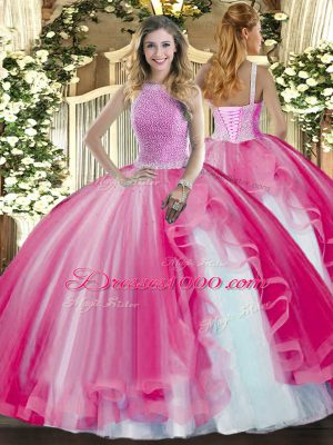 Chic Floor Length Hot Pink Quince Ball Gowns Tulle Sleeveless Beading and Ruffles