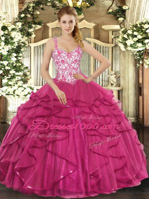 Hot Pink Sleeveless Beading and Appliques and Ruffles Floor Length Quince Ball Gowns