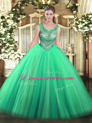 Elegant Turquoise Scoop Lace Up Beading 15th Birthday Dress Sleeveless