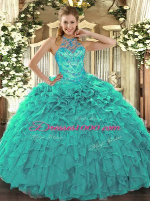 Hot Selling Turquoise Sweet 16 Dresses Military Ball and Sweet 16 and Quinceanera with Beading and Embroidery and Ruffles Halter Top Sleeveless Lace Up