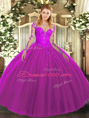 Long Sleeves Lace Lace Up 15th Birthday Dress