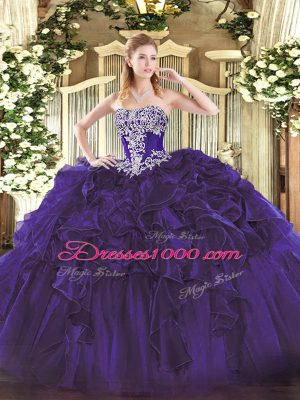 Fashionable Purple Ball Gowns Strapless Sleeveless Organza Floor Length Lace Up Beading and Ruffles Quinceanera Dresses