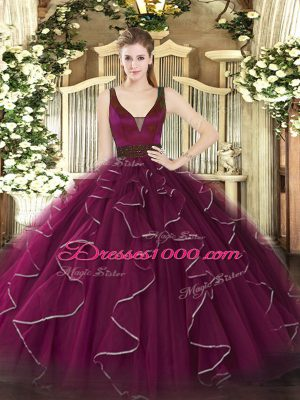 Fuchsia Tulle Zipper Straps Sleeveless Floor Length Sweet 16 Dresses Beading and Ruffles