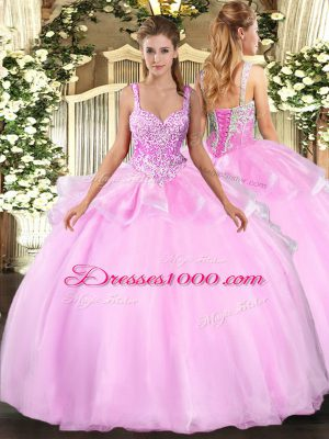 Beading Quinceanera Dresses Pink Lace Up Sleeveless Floor Length