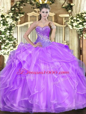 Fancy Lilac Sweetheart Lace Up Beading and Ruffles 15 Quinceanera Dress Sleeveless