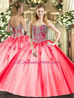 Floor Length Lace Up Vestidos de Quinceanera Coral Red for Military Ball and Sweet 16 and Quinceanera with Beading and Appliques