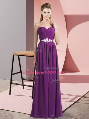 Inexpensive Purple Chiffon Lace Up Womens Party Dresses Sleeveless Floor Length Beading