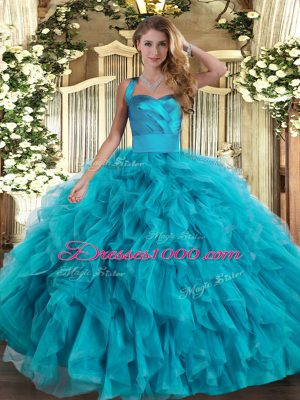 Teal Ball Gowns Halter Top Sleeveless Tulle Floor Length Lace Up Ruffles 15th Birthday Dress