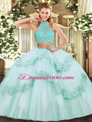 Apple Green Two Pieces Halter Top Sleeveless Tulle Floor Length Criss Cross Beading and Appliques and Ruffles Ball Gown Prom Dress