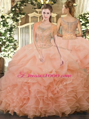 Peach Clasp Handle Scoop Beading and Ruffled Layers Quinceanera Gown Tulle Sleeveless