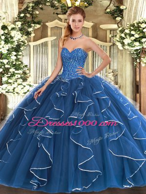 Luxurious Sleeveless Lace Up Floor Length Beading and Ruffles Sweet 16 Quinceanera Dress