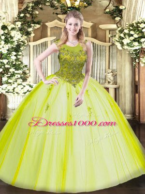 Beauteous Yellow Green Ball Gowns Tulle Scoop Sleeveless Beading Floor Length Zipper Quinceanera Dresses