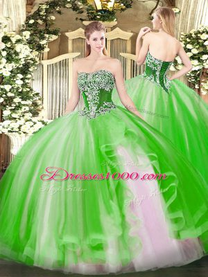 Customized Strapless Sleeveless Lace Up 15 Quinceanera Dress Tulle