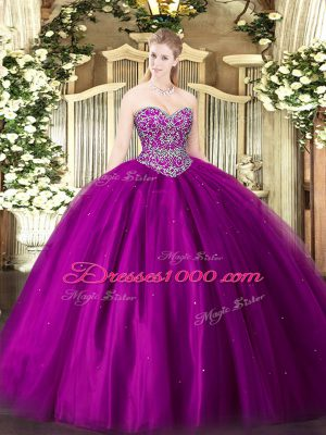 Custom Made Sleeveless Floor Length Beading Lace Up Quinceanera Gown with Fuchsia