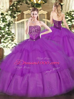 Chic Purple Lace Up Strapless Beading and Ruffled Layers Ball Gown Prom Dress Tulle Sleeveless