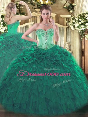 Sumptuous Floor Length Turquoise Sweet 16 Dresses Organza Sleeveless Beading and Ruffles