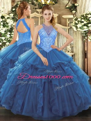 Floor Length Lace Up Sweet 16 Dress Blue for Military Ball and Sweet 16 and Quinceanera with Beading and Ruffles