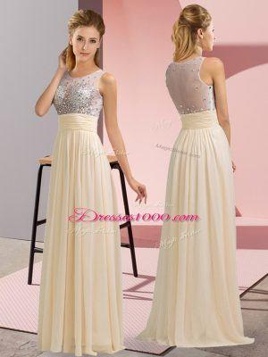 Champagne Side Zipper Scoop Beading Casual Dresses Chiffon Sleeveless