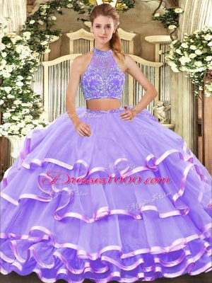 Lavender 15th Birthday Dress Military Ball and Sweet 16 and Quinceanera with Beading and Ruffled Layers Halter Top Sleeveless Criss Cross