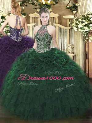 Traditional Sleeveless Taffeta Floor Length Lace Up Sweet 16 Quinceanera Dress in Dark Green with Beading and Ruffles