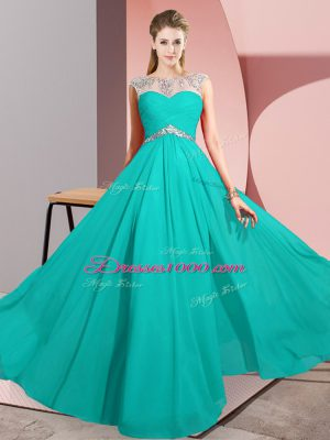 Hot Selling Chiffon Sleeveless Floor Length Prom Dresses and Beading