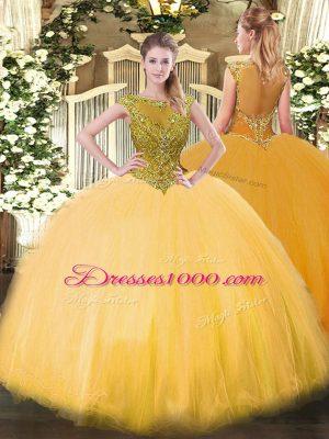 High Class Gold Ball Gowns Scoop Sleeveless Tulle Floor Length Zipper Beading Quinceanera Dresses