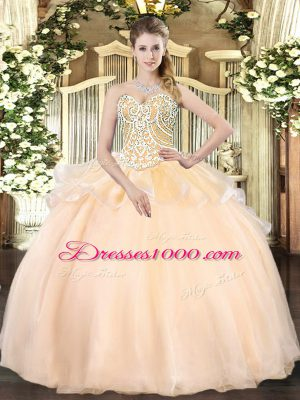 Champagne Lace Up Sweetheart Beading Sweet 16 Dresses Organza Sleeveless