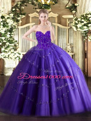 Beauteous Purple Sweetheart Lace Up Appliques Quinceanera Gowns Sleeveless