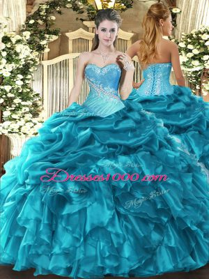 Cheap Beading and Ruffles and Pick Ups Ball Gown Prom Dress Teal Lace Up Sleeveless Floor Length