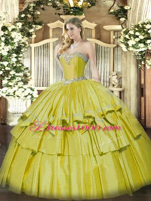 Yellow Sweetheart Neckline Beading and Ruffled Layers Quinceanera Gown Sleeveless Lace Up