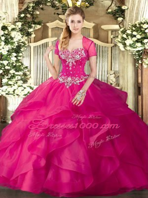 Floor Length Ball Gowns Sleeveless Hot Pink Quinceanera Dress Lace Up