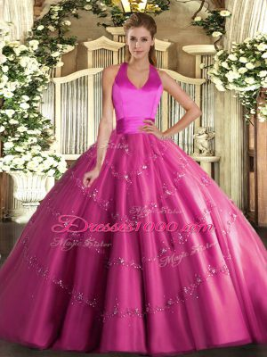 Tulle Halter Top Sleeveless Lace Up Appliques 15th Birthday Dress in Hot Pink