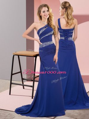 Most Popular Blue Prom and Party with Beading One Shoulder Sleeveless Sweep Train Lace Up