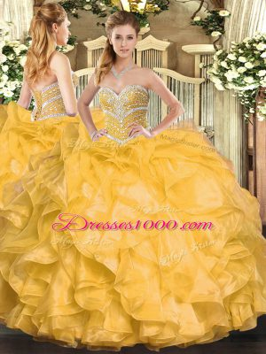 Attractive Organza Sweetheart Sleeveless Lace Up Beading and Ruffles Quinceanera Gown in Gold