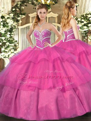 Wonderful Hot Pink Ball Gowns Sweetheart Sleeveless Tulle Floor Length Lace Up Beading and Ruffled Layers Ball Gown Prom Dress
