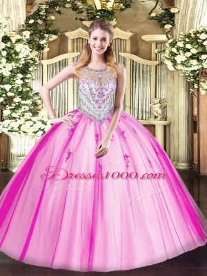 Custom Made Sleeveless Floor Length Beading and Appliques Zipper Quince Ball Gowns with Lilac