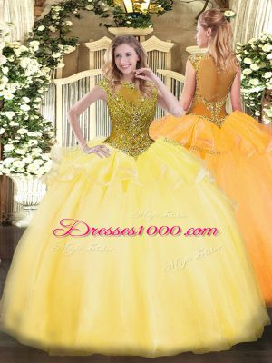 Gorgeous Floor Length Gold Quinceanera Dresses Organza Cap Sleeves Beading and Appliques