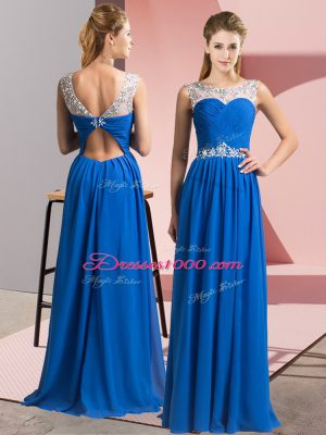 Charming Blue Clasp Handle Scoop Beading Dress for Prom Chiffon Sleeveless