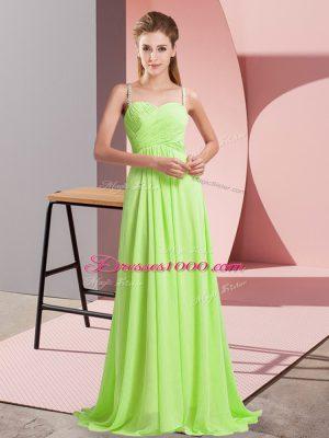 Super Sleeveless Ruching Criss Cross Homecoming Dress with Yellow Green Sweep Train